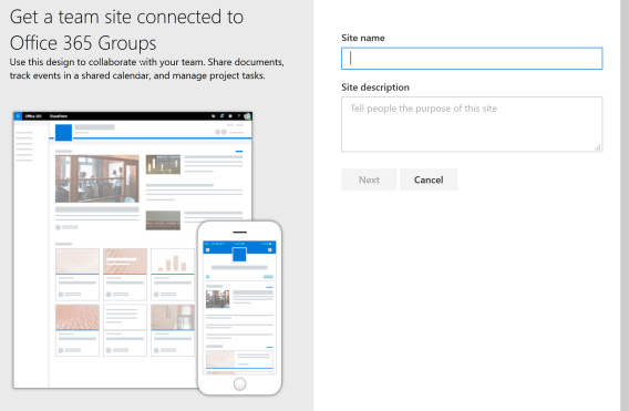 create Team site connected to Office 365 Group