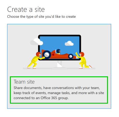 create Team site with Office 365 Group
