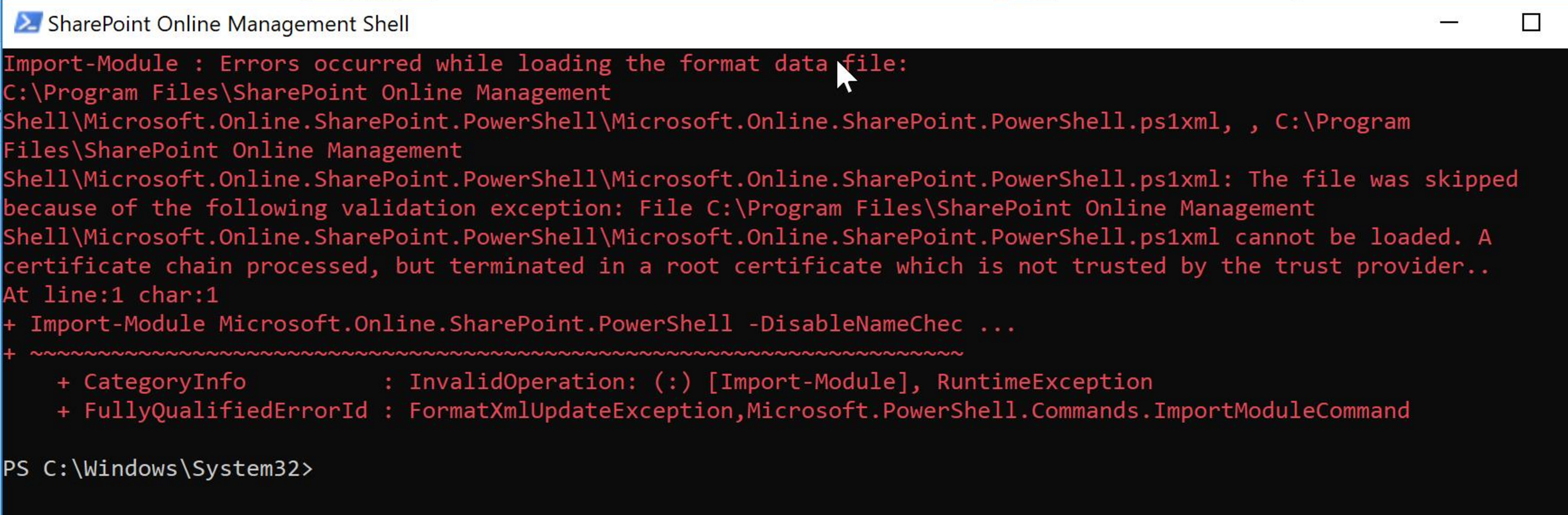 SharePoint Online Management Shell – Root Certificate is Not Trusted